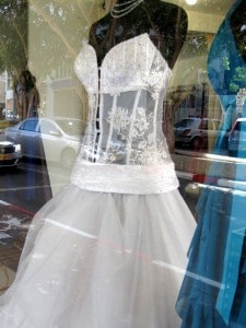 Israeli wedding dress with see-through midriff