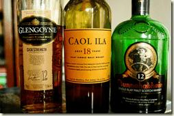 three bottles of scotch
