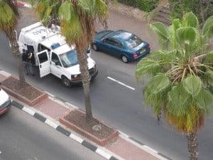 police van with robot